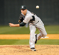 Pitcher Jeff Kinley (28) of the Michigan State Spartans in a game against the Furman Paladins on February 25, 2012, at Fluor Field in Greenville, South Carolina. (Tom Priddy/Four Seam Images)