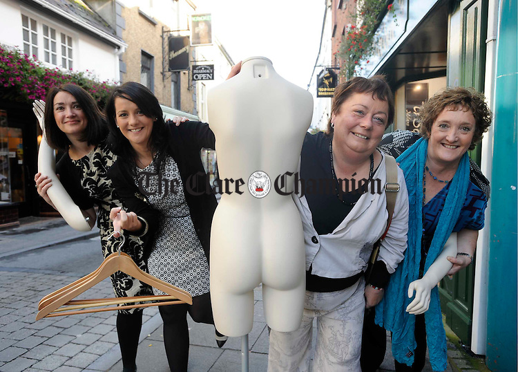 Cheeky.....At the launch of Ennis Fashion Week 2009, which takes  place from 17-25th October, were;  Maeve Culligan, County Boutique, Tina Grogan D'Auria, Bambinos, Mary Jo Duffy, Pharmacist and Gwen Culligan, County Boutique. Photograph by John Kelly.