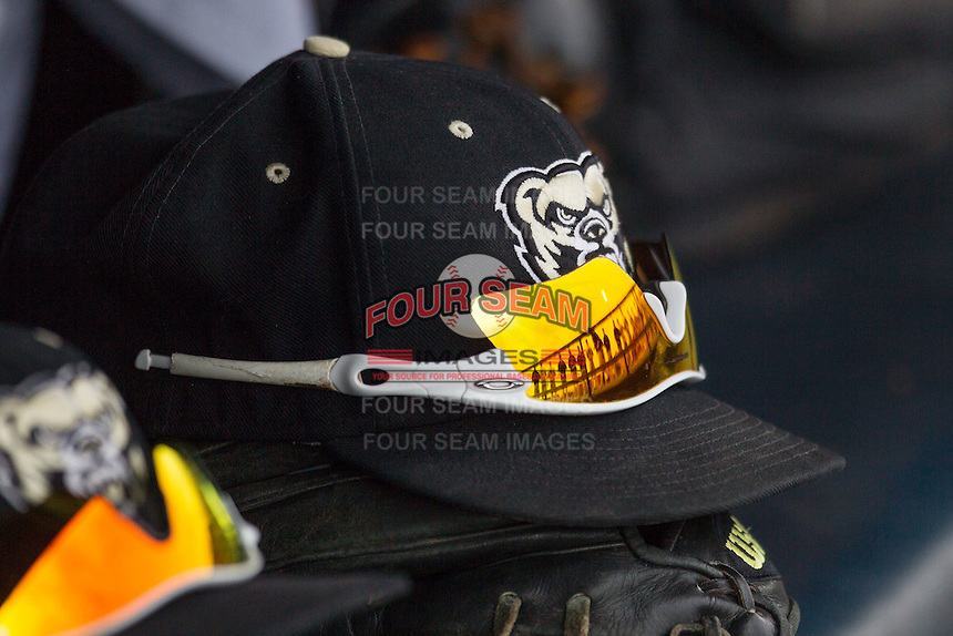 Oakland Golden Grizzlies hat on May 17, 2016 at Ray Fisher Stadium in Ann Arbor, Michigan. (Andrew Woolley/Four Seam Images)
