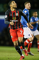 Blackburn Rovers' Dominic Samuel tracks the ball in the air<br /> <br /> Photographer Andrew Kearns/CameraSport<br /> <br /> The EFL Sky Bet League One - Portsmouth v Blackburn Rovers - Tuesday 13th February 2018 - Fratton Park - Portsmouth<br /> <br /> World Copyright &copy; 2018 CameraSport. All rights reserved. 43 Linden Ave. Countesthorpe. Leicester. England. LE8 5PG - Tel: +44 (0) 116 277 4147 - admin@camerasport.com - www.camerasport.com