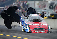 Oct. 6, 2012; Mohnton, PA, USA: NHRA funny car driver Bob Tasca III during qualifying for the Auto Plus Nationals at Maple Grove Raceway. Mandatory Credit: Mark J. Rebilas-