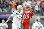VfL Wolfsburg's Nilla Fischer (l) and Olympique Lyonnais' Ada Hegerberg during UEFA Women's Champions League 2015/2016 Final match.May 26,2016. (ALTERPHOTOS/Acero)