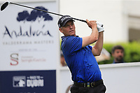 Anders Hansen (DEN) tees off the 1st tee during Saturday's rain delayed Round 2 of the Andalucia Valderrama Masters 2018 hosted by the Sergio Foundation, held at Real Golf de Valderrama, Sotogrande, San Roque, Spain. 20th October 2018.<br /> Picture: Eoin Clarke | Golffile<br /> <br /> <br /> All photos usage must carry mandatory copyright credit (&copy; Golffile | Eoin Clarke)