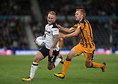 8th September 2017, Pride Park Stadium, Derby, England; EFL Championship football, Derby County versus Hull City; Johnny Russell of Derby County chasing the ball down as Sebastian Larsson of Hull City closes in