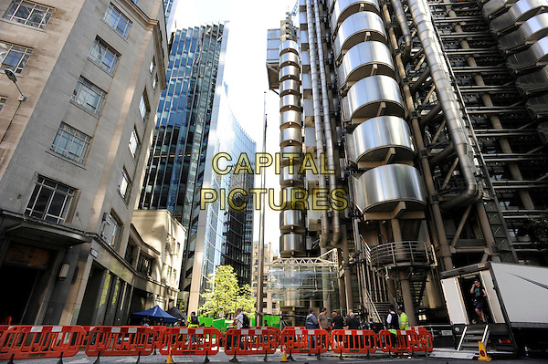 Filming on the set of 'Guardians of Galaxy' at Lloyd's of London, The City, London, England.<br /> 11th August 2013<br /> cast crew gv general view building structure <br /> CAP/IA<br /> &copy;Ian Allis/Capital Pictures