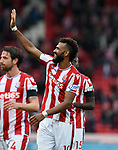Eric Maxim Choupo Moting of Stoke City thanks the fans at the end of the premier league match at the Britannia Stadium, Stoke. Picture date 19th August 2017. Picture credit should read: Robin Parker/Sportimage