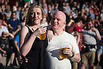 """© Joel Goodman - 07973 332324 . 04/07/2015 . Manchester , UK . Helen Riley (42 from Bolton) and Denny Gill (49 from Chadderton) . Fans at the Castlefield Bowl as part of the """" Summer in the City """" festival in Manchester. Photo credit : Joel Goodman"""