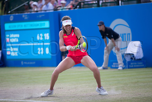 June 18th 2017, Nottingham, England; WTA Aegon Nottingham Open Tennis Tournament day 7 finals day;  Johanna Konta of Great Britain in action against Donna Vekic of Croatia