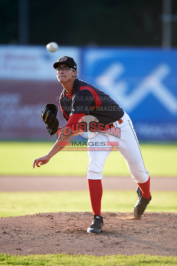 Batavia Muckdogs pitcher Justin Jacome (44) follows through on a pitch during the second game of a doubleheader against the Mahoning Valley Scrappers on July 2, 2015 at Dwyer Stadium in Batavia, New York.  Mahoning Valley defeated Batavia 3-0.  (Mike Janes/Four Seam Images)