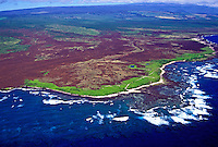 Aerial view of the southernmost point of the Hawaiian island chain, known as South Point.