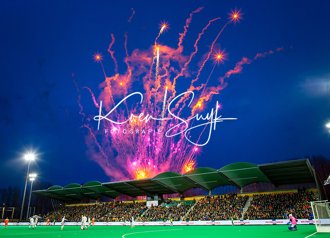 ROTTERDAM - fireworks before the Pro League hockeymatch men, Netherlands- Germany (0-1).  COPYRIGHT  KOEN SUYK
