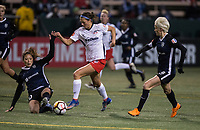 Seattle, WA - Saturday March 24, 2018: Ashley Hatch, Rumi Utsugi, Megan Rapinoe during a regular season National Women's Soccer League (NWSL) match between the Seattle Reign FC and the Washington Spirit at the UW Medicine Pitch at Memorial Stadium.