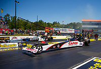 May 7, 2017; Commerce, GA, USA; NHRA top fuel driver Steve Torrence (near) races alongside Shawn Langdon during the Southern Nationals at Atlanta Dragway. Mandatory Credit: Mark J. Rebilas-USA TODAY Sports