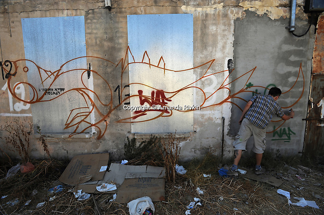 """Klone,"" 24, a Ukrainian-Israeli street artist, at work on the side of an abandoned building in the Shapira district of Tel Aviv, Israel on May 31, 2008.  ""Klone"" and American-Israeli street artist ""Zero Cents"" form part of the tagging crew SMD or Style Must Die."