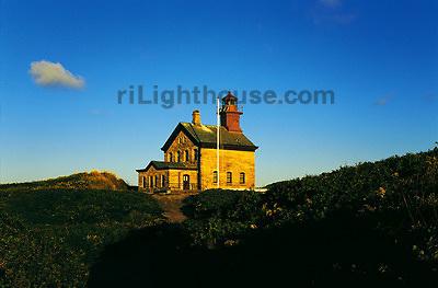 The morning sun illuminates Block Island's North Light