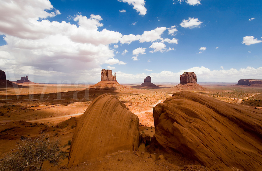 A panorama view of Monument Valley.