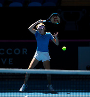 8th November 2019; RAC Arena, Perth, Western Australia, Australia; Fed Cup by BNP Paribas Final Tennis, Australia versus France, Practice Day; Kristina Mladenivic of France plays a forehand shot during practise - Editorial Use