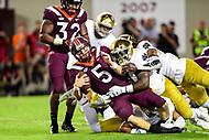 Blacksburg, VA - OCT 6, 2018: Virginia Tech Hokies quarterback Ryan Willis (5) is sacked during game between Notre Dame and Virginia Tech at Lane Stadium/Worsham Field Blacksburg, VA. (Photo by Phil Peters/Media Images International)