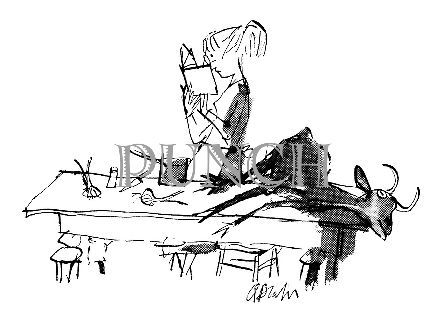 (Woman looking in cookery book with dead goat on the table)
