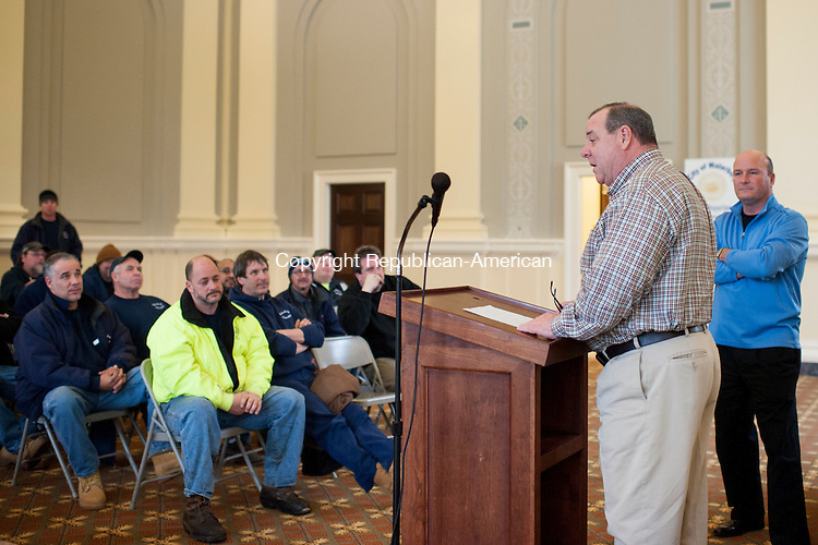 WATERBURY, CT-26 January 2015-012615EC11-   Waterbury Mayor Neil O'Leary gives a pep talk to a room full of DPW employees Monday afternoon at City Hall ahead of the storm. O'Leary told workers to stay safe, use their best judgment and help residents out. The mayor also gave workers pizza to thank them for their hard work. Erin Covey Republican-American