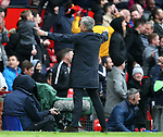 Jose Mourinho manager of Manchester United celebrates towards the bench during the premier league match at the Old Trafford Stadium, Manchester. Picture date 29th April 2018. Picture credit should read: Simon Bellis/Sportimage