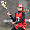 Nicole Concannon #3 of Syosset looks to pass from behind the net during a Nassau County varsity girls lacrosse game against host Garden City High School on Saturday, April 1, 2017. Garden City won by a score of 13-9. (Note to editor: Game was shot in place of assigned Farmingdale-North Shore matchup, which I learned was canceled upon arriving at Farmingdale HS)