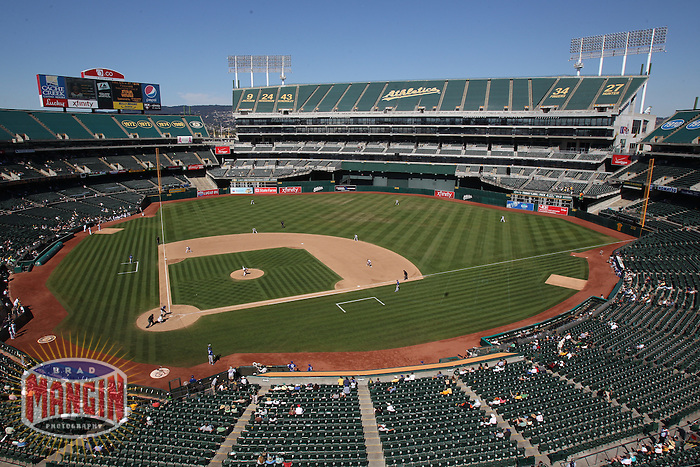 OAKLAND, CA - SEPTEMBER 7:  General overall interior view of the O.co Coliseum showing a sparse crowd during the game between the Kansas City Royals and Oakland Athletics on September 7, 2011 in Oakland, California. Photo by Brad Mangin