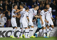 Celebrations as Son Heung-Min of Tottenham Hotspur scores his opening goal to make it 1-1 during the UEFA Europa League match between Tottenham Hotspur and Qarabag FK at White Hart Lane, London, England on 17 September 2015. Photo by Andy Rowland.