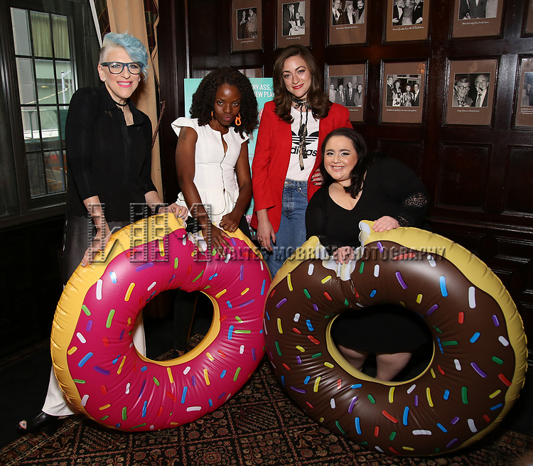 Lisa Lampanelli, Marsha Stephanie Blake, Eden Malyn and Nikki Blonsky attend the Off-Broadway cast photocell for Lisa Lampanelli's 'Stuffed' at the Friars Club on August 14, 2017 in New York City.