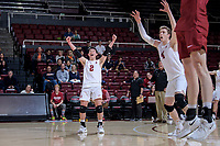 STANFORD, CA -- February 6, 2020. The Stanford Cardinal men's volleyball team falls to the Pepperdine Waves 3-2 at Maples Pavilion.