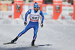 Fabio Pasini in action at the sprint qualification of the FIS Cross Country Ski World Cup  in Dobbiaco, Toblach, on January 14, 2017. Credit: Pierre Teyssot