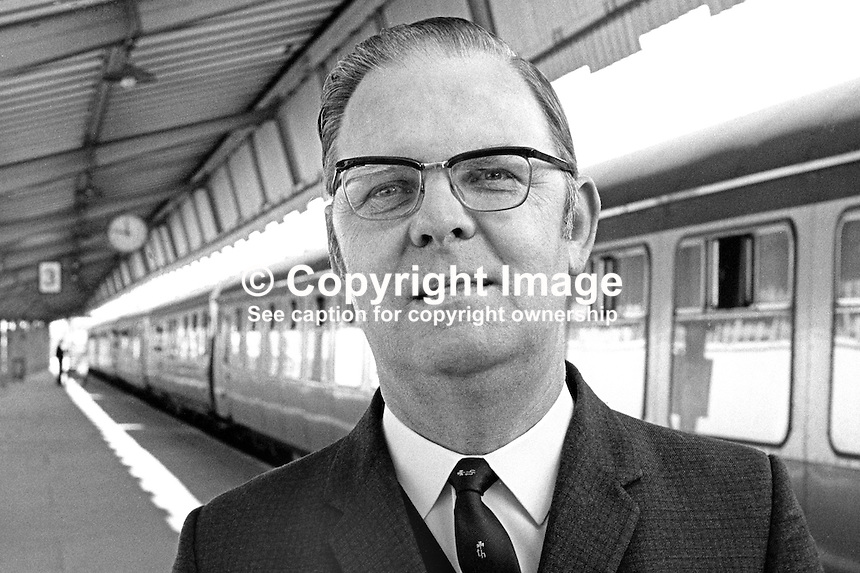 Hugh Waring, boss, N Ireland Railways, UK, August 1970, 197908000297<br /> <br /> Copyright Image from Victor Patterson, 54 Dorchester Park, <br /> Belfast, UK, BT9 6RJ<br /> <br /> t1: +44 28 9066 1296 (from Rep of Ireland 048 9066 1296)<br /> t2: +44 28 9002 2446 (from Rep of Ireland 048 9002 2446)<br /> m: +44 7802 353836<br /> <br /> e: victorpatterson@me.com<br /> www.victorpatterson.com<br /> <br /> Please see my Terms and Conditions of Use at www.victorpatterson.com. It is IMPORTANT that you familiarise yourself with them.<br /> <br /> Images used on the Internet must be visibly watermarked i.e. &copy; Victor Patterson<br /> within the body of the image and copyright metadata must not be deleted. Images <br /> used on the Internet have a size restriction of 4kbs and will be chargeable at current<br />  NUJ rates unless agreed otherwise.<br /> <br /> This image is only available for the use of the download recipient i.e. television station, newspaper, magazine, book publisher, etc, and must not be passed on to any third <br /> party. It is also downloaded on condition that each and every usage is notified within 7 days to victorpatterson@me.com<br /> <br /> The right of Victor Patterson to be identified as the author is asserted in accordance with The Copyright Designs And Patents Act (1988). All moral rights are asserted.
