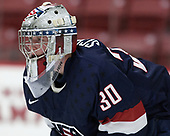 Adam Scheel (NTDP - 30) - The Harvard University Crimson defeated the US National Team Development Program's Under-18 team 5-2 on Saturday, October 8, 2016, at the Bright-Landry Hockey Center in Boston, Massachusetts.