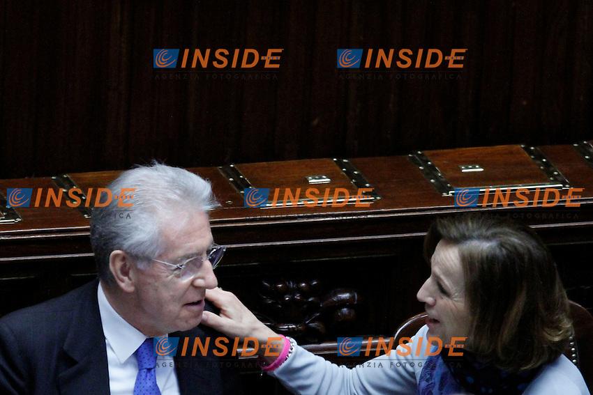 Il Presidente del Consiglio Mario Monti e il Ministro del Lavoro Elsa Fornero.Roma 21/03/2012 Camera dei Deputati, Voto di fiducia sul decreto legge in materia di liberalizzazioni.Foto Serena Cremaschi Insidefoto