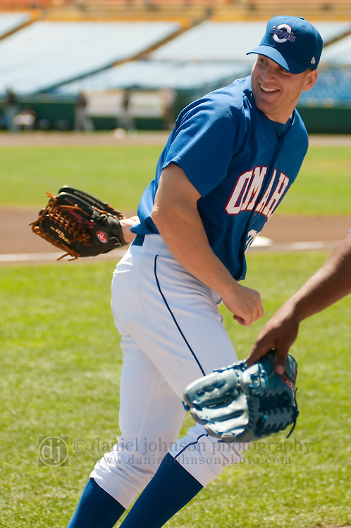 June 30, 2009 -- Omaha Royals left fielder Scott Thorman, from Cambridge, Ontario, jokes around with other players during warmups against the Albuquerque Isotopes in a minor league professional baseball game on Tuesday June 30, 2009 in Omaha, Nebraska. PHOTO/Daniel Johnson