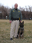 Carson City Sheriff's Sgt. Brian Humphrey and his partner Ivo, on Wednesday, March 5, 2014 at Fuji Park.<br /> Photo by Cathleen Allison/Nevada Photo Source