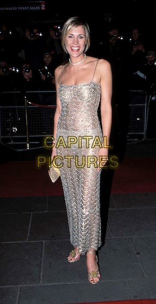 JENNY FALCONER.GMTV 10th Anniversary Party, Madame Tussauds.Ref: AH.long silver dress, see-through, see-thru, full length, full-length.www.capitalpictures.com.sales@capitalpictures.com.© Capital Pictures