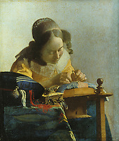 Jan Vermeer of Delft 1632-1675:  La dentelliere.  Louvre.  Reference only.