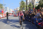 Rigoberto Uran (COL) EF Education First crosses the finish line at the end of Stage 2 of La Vuelta 2019 running 199.6km from Benidorm to Calpe, Spain. 25th August 2019.<br /> Picture: Eoin Clarke | Cyclefile<br /> <br /> All photos usage must carry mandatory copyright credit (© Cyclefile | Eoin Clarke)