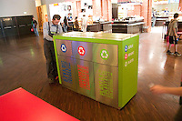 Recycling bins in a fast food restaurant at Manufaktura entertainment center. Balucki District Lodz Central Poland