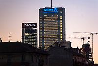 Milano, Torre Isozaki e Torre Hadid, i grattacieli sede di Generali e Allianz assicurazioni al quartiere Citylife --- Milan, the towers Isozaki and Hadid, the skyscrapers headquarters of Generali and Allianz insurances at Citylife district