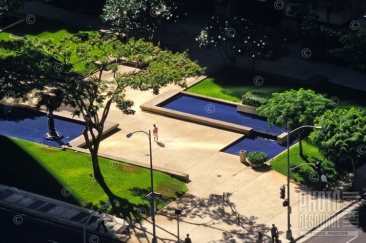 Tamarind Park is on the corner of King and Bishop Streets in the heart of downtown Honolulu's business and financial district.