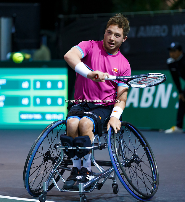Rotterdam, The Netherlands, 14 Februari 2020, ABNAMRO World Tennis Tournament, Ahoy, <br /> Wheelchair Doubles: Alfie Hewett (GBR).<br /> Photo: www.tennisimages.com