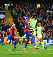 Christian Benteke of Crystal Palace beats Dejan Lovren to a header  during the EPL - Premier League match between Crystal Palace and Liverpool at Selhurst Park, London, England on 29 October 2016. Photo by Steve McCarthy.