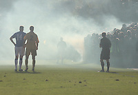 Smoke bomb let off by the home fans in the Forres Mechanics v Rangers William Hill Scottish Cup 2nd Round match, at Mosset Park, Forres on 29.9.12.