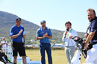 Kerry Footballer, Kieran Donaghy and Donegal Captain Michael Murphy with Shane Lowry and Paul Dunne on the ProAm Day of the 2018 Dubai Duty Free Irish Open, Ballyliffin Golf Club, Ballyliffin, Co Donegal, Ireland.<br /> Picture: Golffile | Jenny Matthews<br /> <br /> <br /> All photo usage must carry mandatory copyright credit (&copy; Golffile | Jenny Matthews)