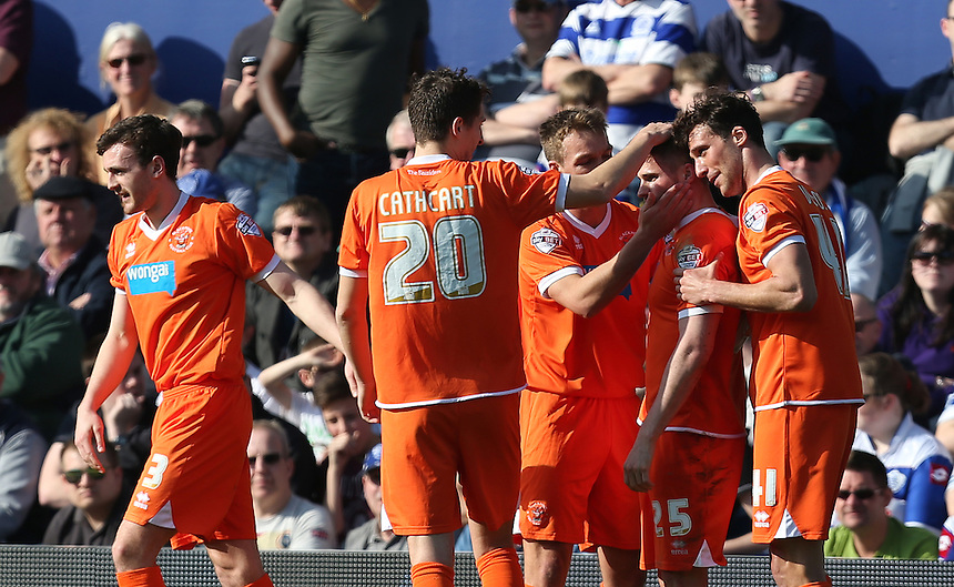 Blackpool's David Goodwillie celebrates scoring his sides first goal <br /> <br /> Photo by Kieran Galvin/CameraSport<br /> <br /> Football - The Football League Sky Bet Championship - Queens Park Rangers v Blackpool - Saturday 29th March 2014 - Loftus Road - London<br /> <br /> &copy; CameraSport - 43 Linden Ave. Countesthorpe. Leicester. England. LE8 5PG - Tel: +44 (0) 116 277 4147 - admin@camerasport.com - www.camerasport.com