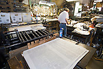 Dean Coombs, third generation newspaperman and publisher of the Saguache Crescent Newspaper, uses an 1897 electric Lee Flatbed Press to produced the weekly 4-page broadsheet. The Crescent is the.last of the hot metal newspapers in the U.S. ..Each paper is hand-printed one side at a time and each sheet is hand-fed into the press. The paper has a weekly circulation of about 700.