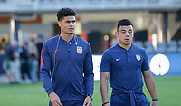 WASHINGTON D.C. - OCTOBER 11: Miles Robinson #6 and Nick Lima #16 of the United States during warm ups prior to their Nations League game versus Cuba at Audi Field, on October 11, 2019 in Washington D.C.