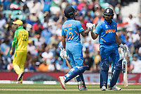 Rohit Sharma (India) congratulates Shikhar Dhawan (India) on his half century during India vs Australia, ICC World Cup Cricket at The Oval on 9th June 2019